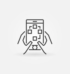 mobile phone in hands icon in linear style vector image