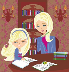 Mom helping her daughter with homework or vector