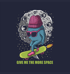 monster skate space vector image