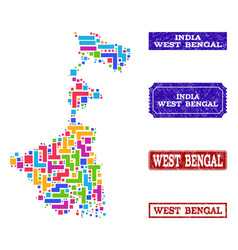 Mosaic map of west bengal state and grunge stamps vector