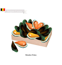 Moules frites a national dish of belgium vector