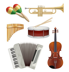 music instruments audio items collection for pop vector image