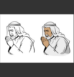 muslim old wise man praying hand drawn vector image