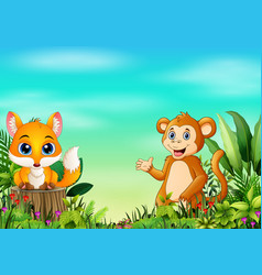 nature scene with a baby fox standing on tree stum vector image