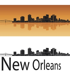 New Orleans skyline in orange background vector