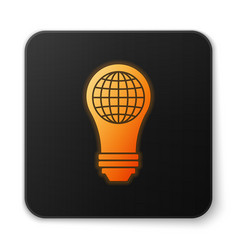 Orange glowing light bulb with inside world globe vector