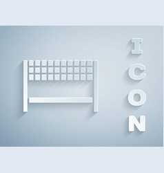 Paper cut ribbon in finishing line icon isolated vector