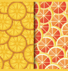 pattern of fresh oranges sliced and pineapples vector image