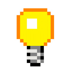 pixel light bulb idea art cartoon retro game style vector image