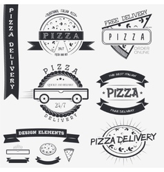 Pizza delivery The food and service Set of vector
