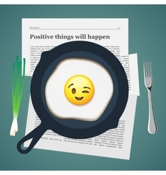 Positive breakfast with love smiling fried egg vector
