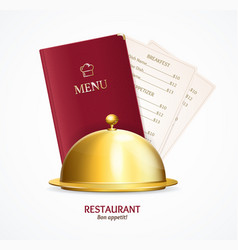 realistic detailed 3d restaurant menu concept vector image