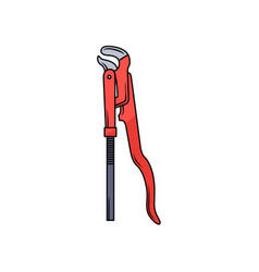 Red multifunctional pipe wrench pliers spanner vector