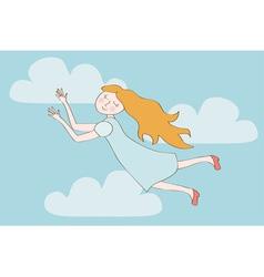 Redhead cartoon girl flying in the sky vector