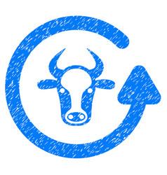 Refresh bull icon grunge watermark vector