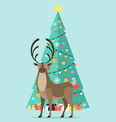 Reindeer near decorated fir tree with garlands vector