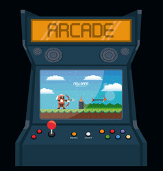 Retro videogame arcade machine card vector