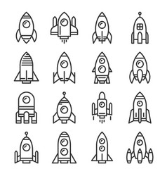 rocket icons set on white background line style vector image