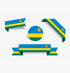 Rwandan flag stickers and labels vector