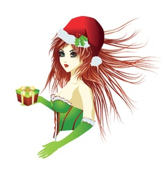 Santa girl in green corset vector image