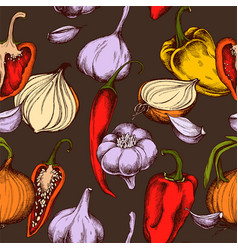 seamless pattern of onions garlic and vector image