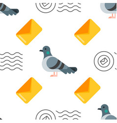 Seamless pattern with dove and letter vector