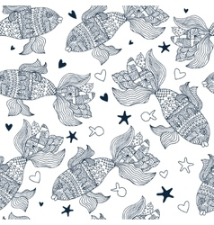 seamless pattern with sea fish vector image