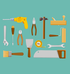 set collection construction hand tools vector image
