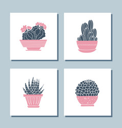 set cute hand drawn card templates with cacti vector image