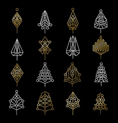 set gold christmas tree icons in modern style vector image