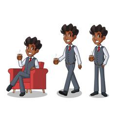 set of businessman in vest making a break vector image