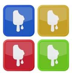 set of four square icons - melting stick ice cream vector image