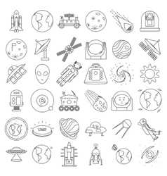 Set of outlined space equipment icons ufo vector image