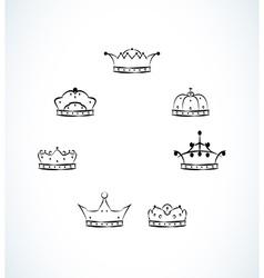 Set of seven crowns vector