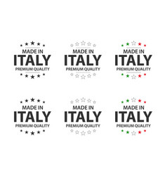Set of six italian icons made in italy premium vector