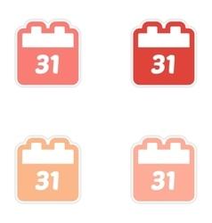 Set oof paper sticker on white background calendar vector