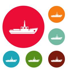 ship fishing icons circle set vector image