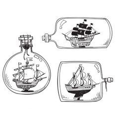 souvenir from sea - ship in a bottle set of vector image
