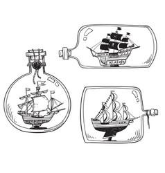 souvenir from the sea - ship in a bottle set vector image