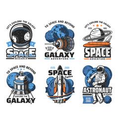 Space adventure galaxy exploration icons vector