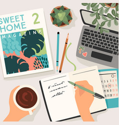 stay at home woman writes in a diary works at vector image