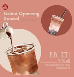 Strawberry color bubble milk tea set promotion ad vector