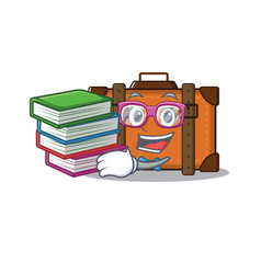 Suitcase with in cartoon student bring book vector
