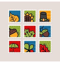 Thanksgiving Day stamp set Harvest vector