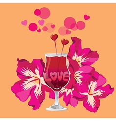 Tropical Love cocktail vector