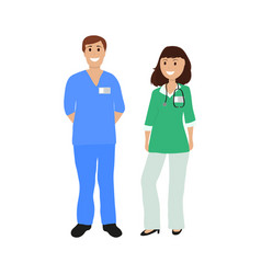 two doctor in hospital flat design vector image