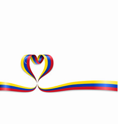 venezuelan flag heart-shaped ribbon vector image