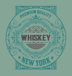 vintage label for whiskey packing vector image