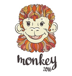 Vintage ornamental and decorative monkey Symbol of vector image