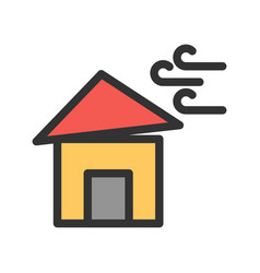 Winds hitting house vector